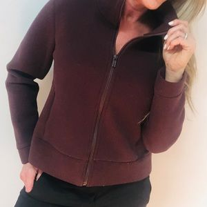 Banana Republic Maroon Fleece Zip Jacket Medium